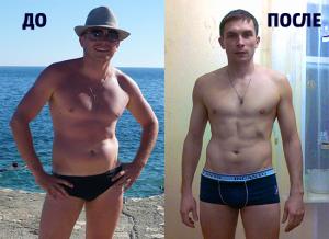 Foto do i posle zanjatij v trenazhernom zale